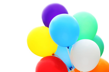 Colorful balloons isolated on a white