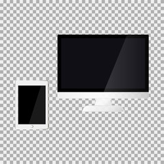 Monitor and touch pad on the grey background