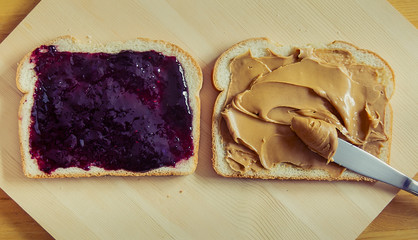 Open-Faced Peanut Butter and Jelly Sandwich