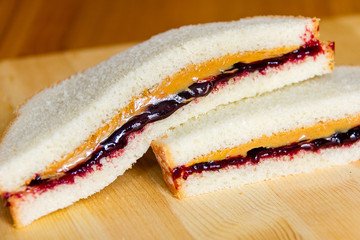 Peanut Butter and Jelly Sandwiches Stacked