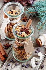 Granola with chocolate chips and spices.Christmas edible gift ideas.Healthy breakfast to go. Selective focus