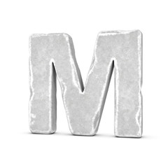 Rendering of stone letter M isolated on white background.