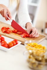Young woman preparing vegetable salad .Cutting tomato and other vegetables.