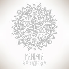 Hand-drawn mandala. Lace ornament. Round, circle pattern