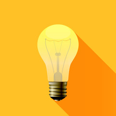 Yellow Light Bulb Icon Idea For Your Business Presentation. Vector Illustration