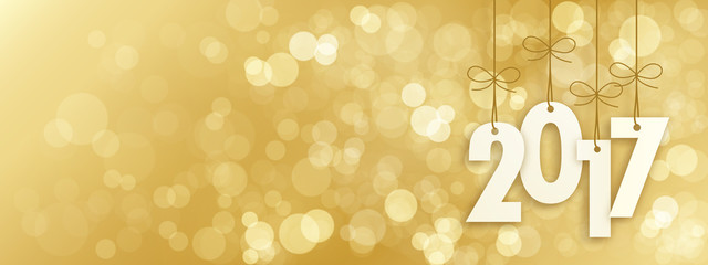 2017 Banner with Gold Bokeh Lights in the Background  Fototapete