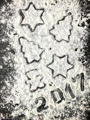 Christmas composition with flour. 2017.