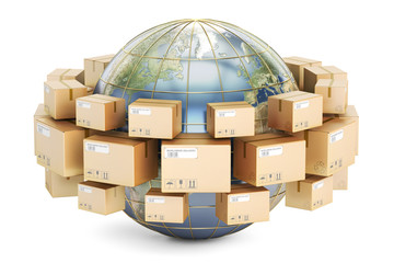 Global shipping and delivery concept, parcels cardboard boxes ar