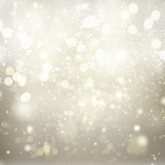 chrismas silver abstract background with bright sparkles and snowflakes