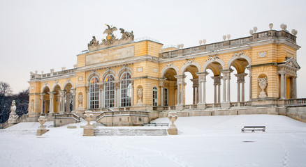 VIENNA, AUSTRIA - JANUARY 15, 2013: Gloriette from gardens of Schonbrunn palace winter. Gloriette was built in year 1775.