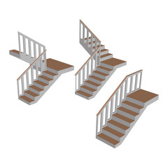 Set Stairs 3d. Sample ladder with  railing side view isolated.  Vector illustration.