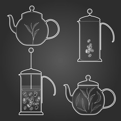 Set of coffee and tea. Vector illustration