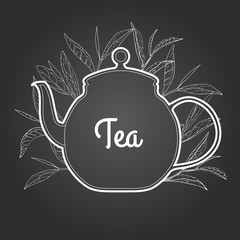 Pure tea on chalkboard. Vector illustration