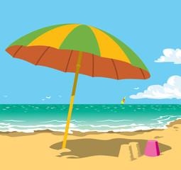 Sunny sea beach with umbrella. Cartoon vector illustration