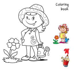 Cute little girl watering flower. Coloring book. Cartoon vector illustration