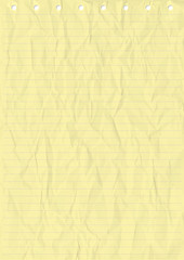 Wrinkled Yellow sheet of line Paper. Vector, Illustration of Wrinkled Yellow sheet of line Paper with holes.