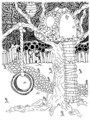 Park. outdoor. backyard. swing. wheel. childhood. tree house. Vector illustration. Doodle drawing. Meditative exercise. Coloring book anti stress for adults. Brown and white.