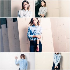 Collage five fashion young women, street fashion look