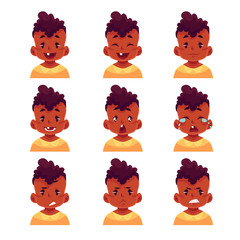 Little boy face expression, set of cartoon vector illustrations isolated on white background. black male kid emoji face icons, facial expressions, set of baby boy avatars with different emotions