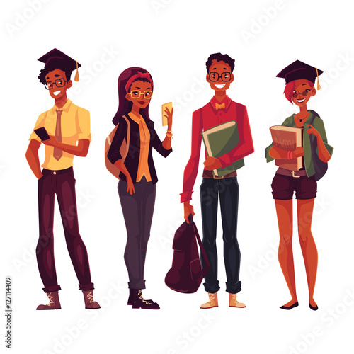 Group Of Full Height Black College University Students With
