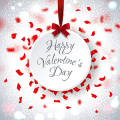Happy valentines day against card surrounded by red confetti, vector illustration