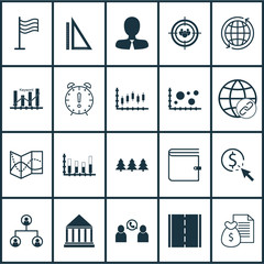 Set Of 20 Universal Editable Icons. Can Be Used For Web, Mobile And App Design. Includes Icons Such As Pin, Phone Conference, Road Map And More.
