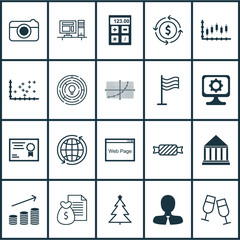 Set Of 20 Universal Editable Icons. Can Be Used For Web, Mobile And App Design. Includes Icons Such As Education Center, Money Recycle, Website And More.