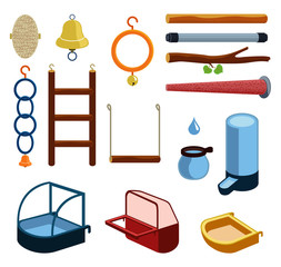 Isolated accessories for parrot, canary or other bird in cage. Vector illustration of perch, wood branch, bell, trough, feeder, drinking bowl, plaything, toy, ladder, bath, ring for pets. Icon set.