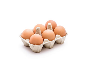 Six Egg Pack Isolated on White