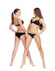 Two sexy models. Beautiful brunette women in underwear
