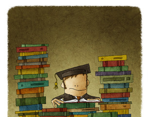 Drawing of man surrounded with books