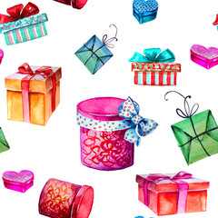 Set of three different colorful isolated present gift boxes - flat style watercolor illustration