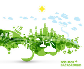 Green eco city with hybrid car and green energy power plants. Ecology concept illustration.