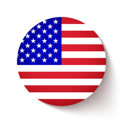 American flag circle button with soft shadow on white background, icon for your business presentations. vector illustration