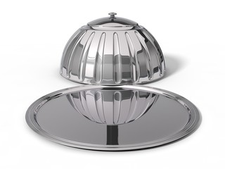 3d illustration of Restaurant cloche. in opened position.