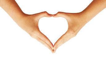 Hands making love heart symbol