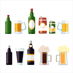 set of beer vector illustrations isolated on white background