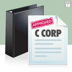 Approved stamp on a C corporation legal document with black three ring binder