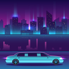 Limousine vector in front of night city urban landscape, luxury metropolis.
