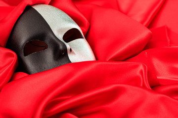 Carnival mask isolated on red satin background