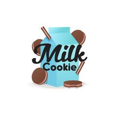 Milk cookie logo, label