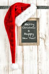 Merry Christmas decoration Red Santa hat vintage chalkboard