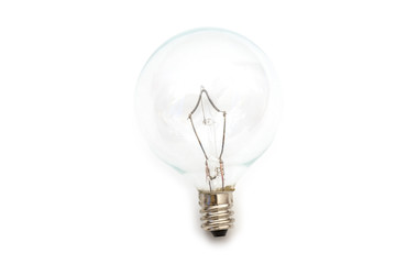 Clear small base specialty lightbulb with round head isolated on