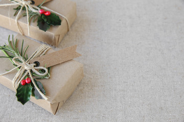 Eco Christmas gift boxes, copy space background