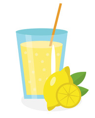 Lemon juice, lemonade, in a glass. Fresh  isolated on white background.  fruit and  icon.  drink,  compote.  cocktail. Vector illustration