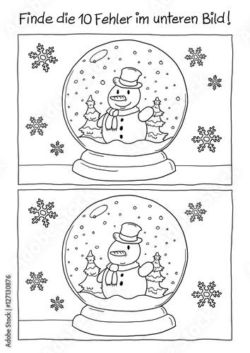Ausmalbild Schneekugel Weihnachten\