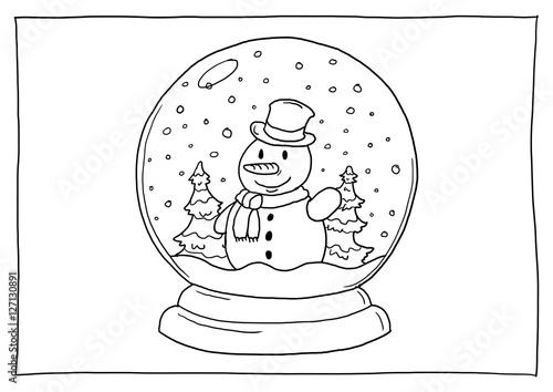 Ausmalbild Schneekugel Schneemann\