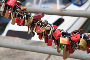 Love Locks On The Bridge Railing
