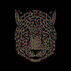 Cheetah head designed using mosaic pattern graphic vector.