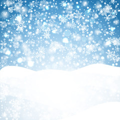 Snowflakes blue background. Geometric natural flakes shapes elements. Greetings banner winter holiday. Vector